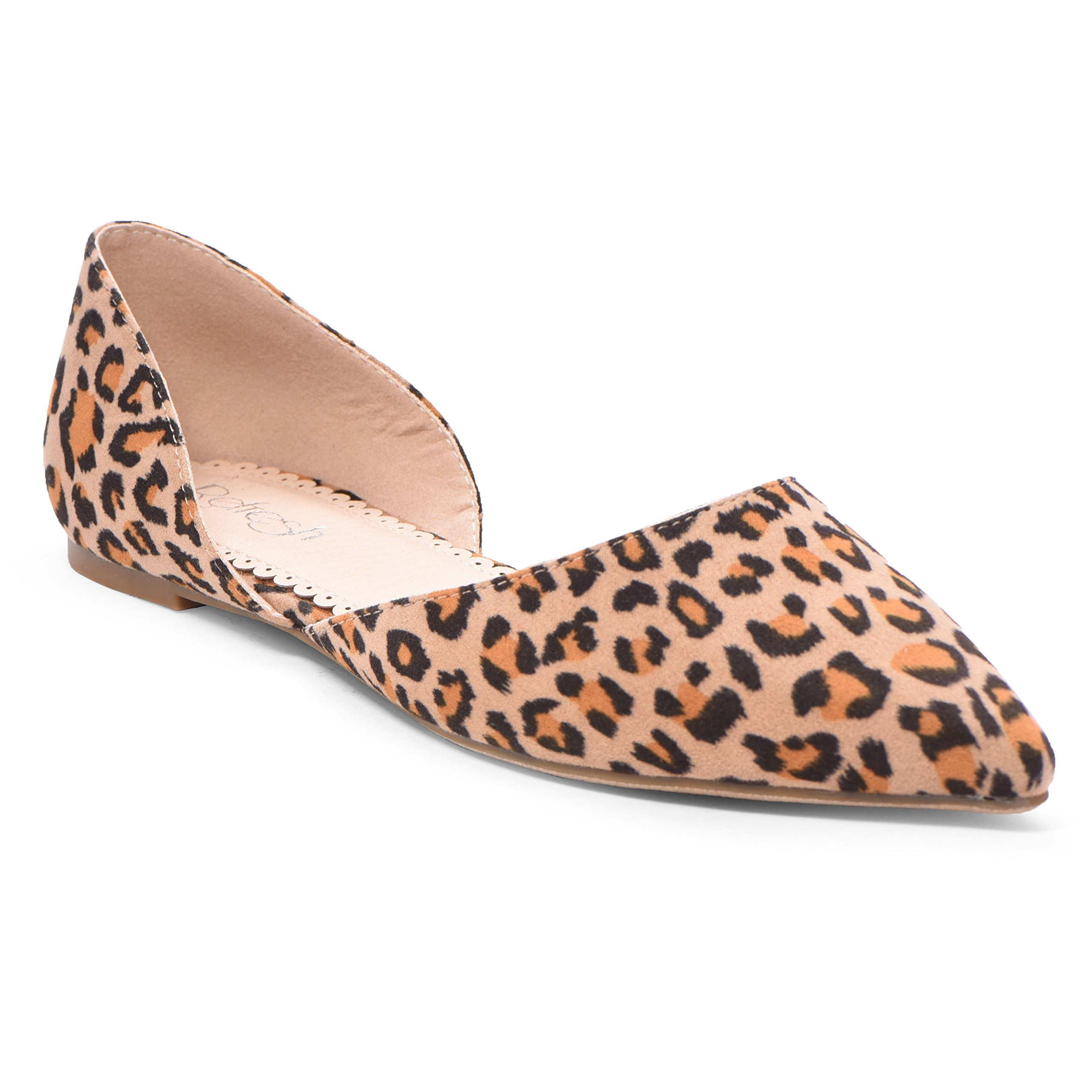 Women's Ballet Flat D'Orsay Comfort Light Pointed Toe Slip On Casual Shoes Leopard Suede 8.5