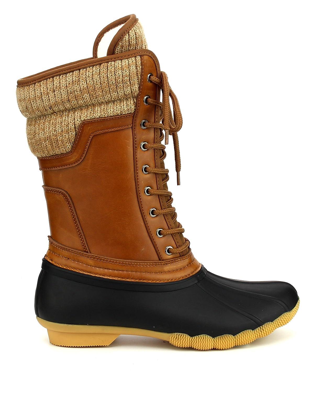 ShoBeautiful Women's Waterproof Duck Boots Rubber Two Tone Mix Media Skimmers Winter Rain Snow Mid Calf Boots