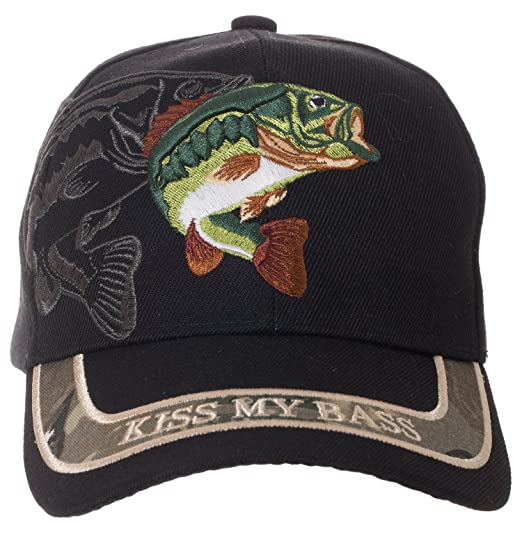 Kiss My Bass Hat - Funny Fishing Fisherman Gift -100% Cotton Embroidered  Cap ( dd0de7b6b58