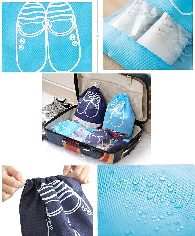 YUMMAYEE 10 Pcs Dust-proof Shoe Bags Drawstring with Window Travel Shoe Storage Bags Shoes Organizer Light Blue by YUMMAYEE (Image #4)