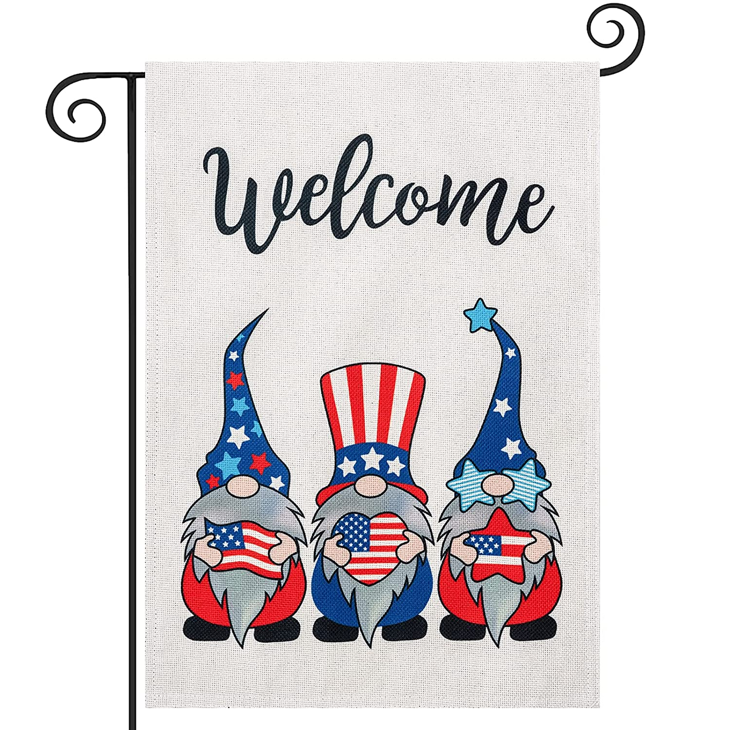 4th of July Welcome Garden Flag, hogardeck Premium Burlap Patriotic Gnomes Yard Flag, Vertical Double Sided Independence Day Memorial Day Front Porch Decor, Outdoor Indoor Decorations 12.5 x 18 inch