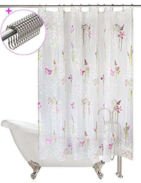 White shower curtain with purple flowers and butterfly eva bath white shower curtain with purple flowers and butterfly eva bath shower curtains 72 mightylinksfo