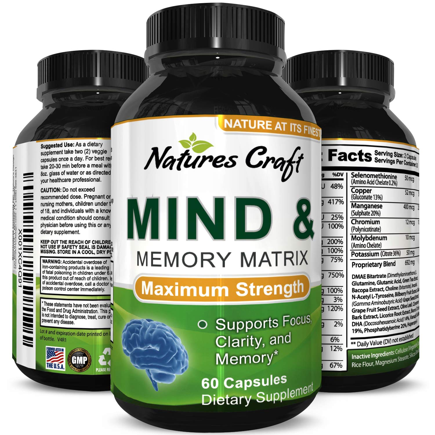 Mind Health Supplement for Adults  A Pure Cognitive Nutrition Nootropic Pills for Better Memory and Mental Performance Anti-Aging Formula with Natural Vitamins Minerals Herbs