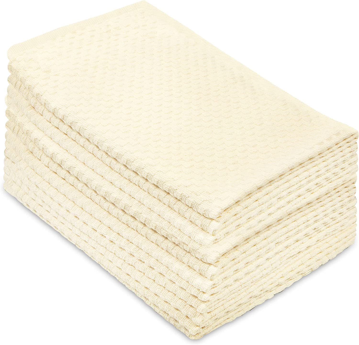 Cotton Craft - 12 Pack - Euro Cafe Waffle Weave Terry Kitchen Towels - 16x28 Inches - Ivory - 400 GSM Quality - 100% Ringspun 2 Ply Cotton - Highly Absorbent Low Lint - Multi Purpose
