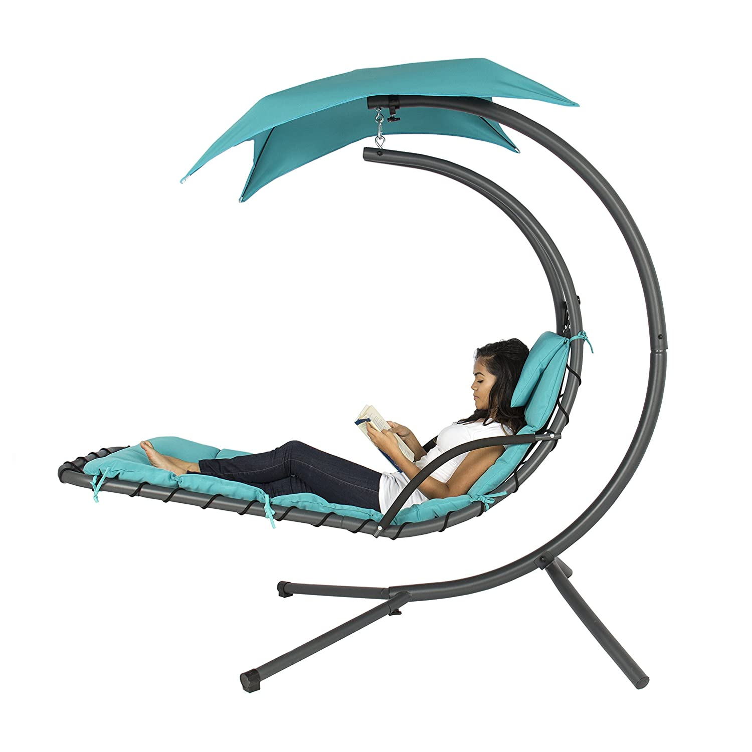 Amazon.com: Best Choice Products Hanging Chaise Lounger Chair Arc Stand Air  Porch Swing Hammock Chair Canopy Teal: Garden U0026 Outdoor