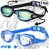Swim Goggles, Pack of 2, Swimming Goggles for Adult Men Women Youth Kids Child, Triathlon Equipment, with Mirrored & Clear Anti-Fog, Waterproof, UV 400 Protection Lenses