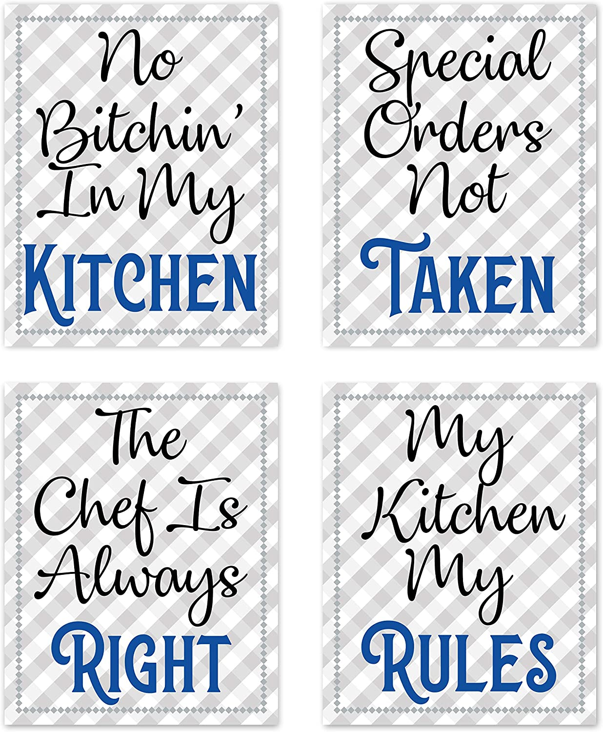 """Retro Vintage Inspirational Rules Wall Art for Dining Room Kitchen Cafe and Restaurant Decor Blue Black Gray and White Prints Posters Signs Sets Home Decorations Funny Sayings Quotes No Bitchin' In My Kitchen Unframed (Set of 4) 8""""x10"""""""