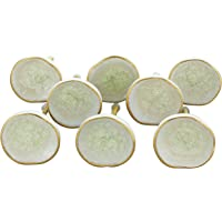 G Decor England Set of 8 Cream Rhodes Ceramic Door Knobs Contemporary Cabinet Pulls for Cabinets, Drawers and Dressers…