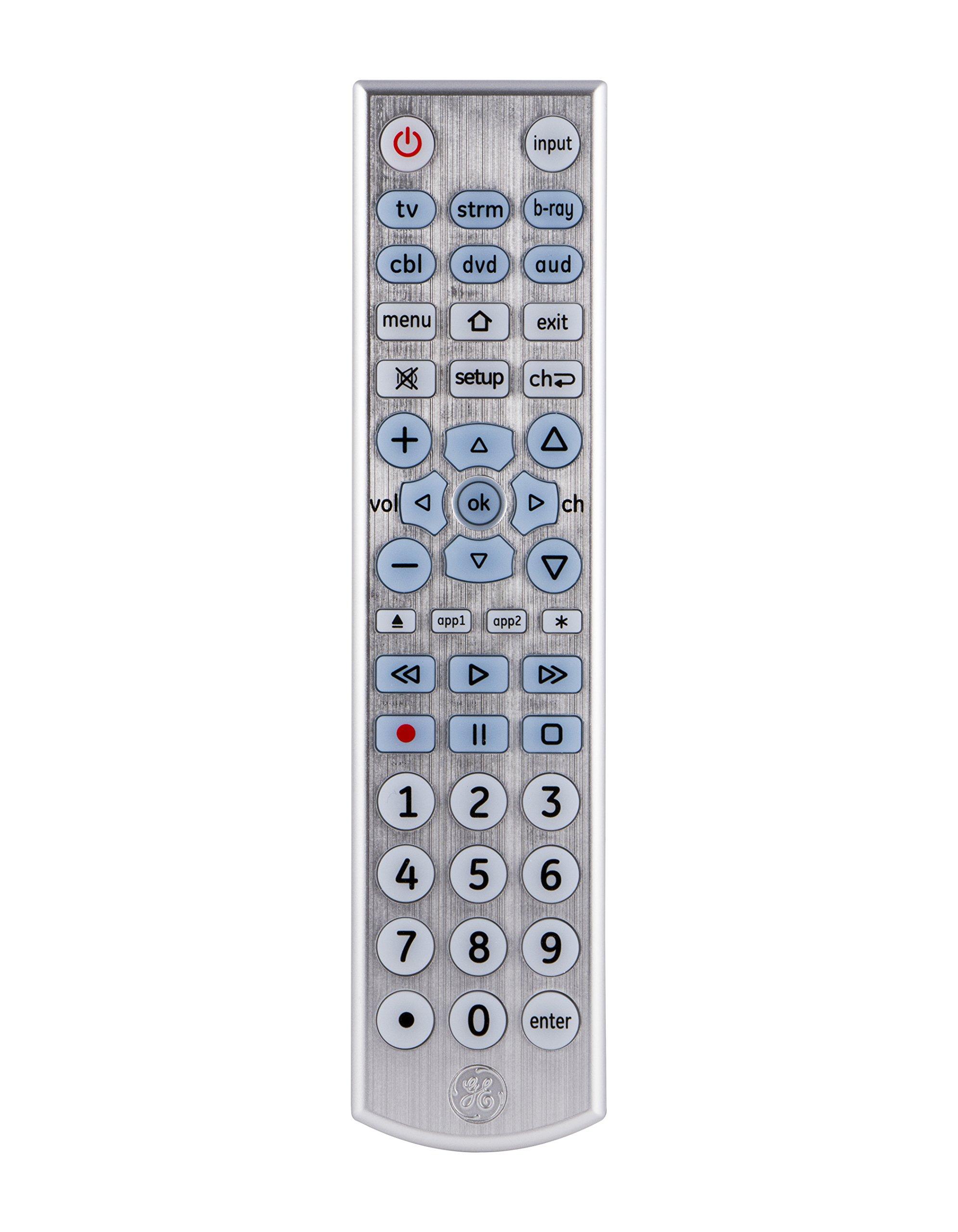 GE 33712 6-Device Big Button Universal Remote Control, Soft-Blue LED Fully Backlit, Designer Series by GE