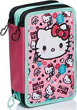 Estuche de 3 Compartimentos Hello Kitty, Fabulous, Rosa, portalápices Escolar con lápices, rotuladores, etc.: Amazon.es: Equipaje