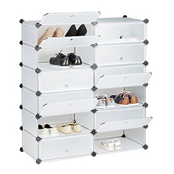 Relaxdays Schuhschrank Kunststoff, Schuhregal Geschlossen, Regalsystem 12  Fächer, HxBxT: 108 X 94