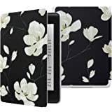 MoKo Case Fits Kindle Paperwhite (10th Generation, 2018 Release), Thinnest Lightest Smart Shell Cover with Auto Wake/Sleep for Amazon Kindle Paperwhite 2018 E-reader - Black & White Magnolia