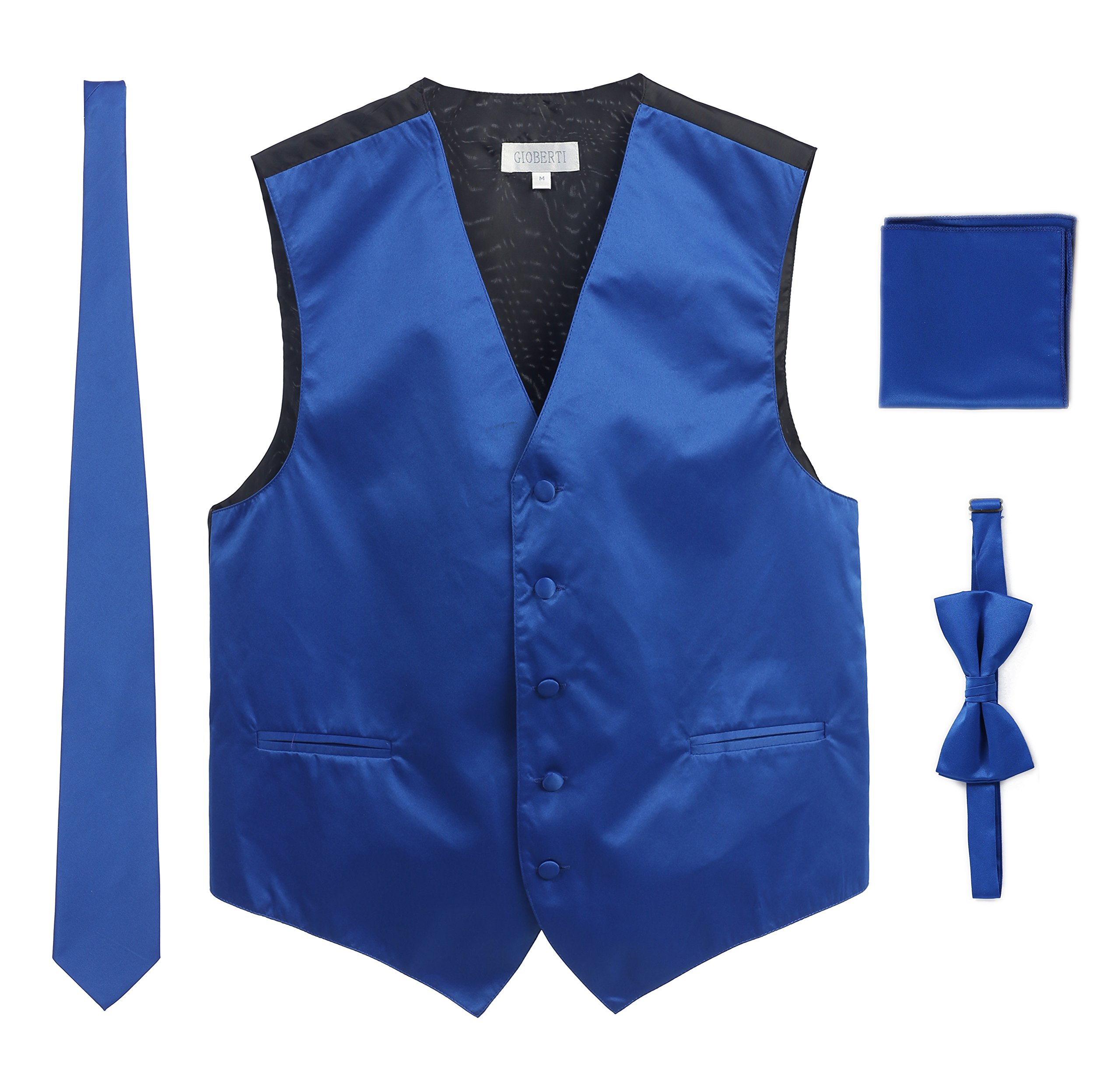 Men's Formal 4pc Satin Vest Necktie Bowtie and Pocket Square, Royal Blue, Large by Gioberti