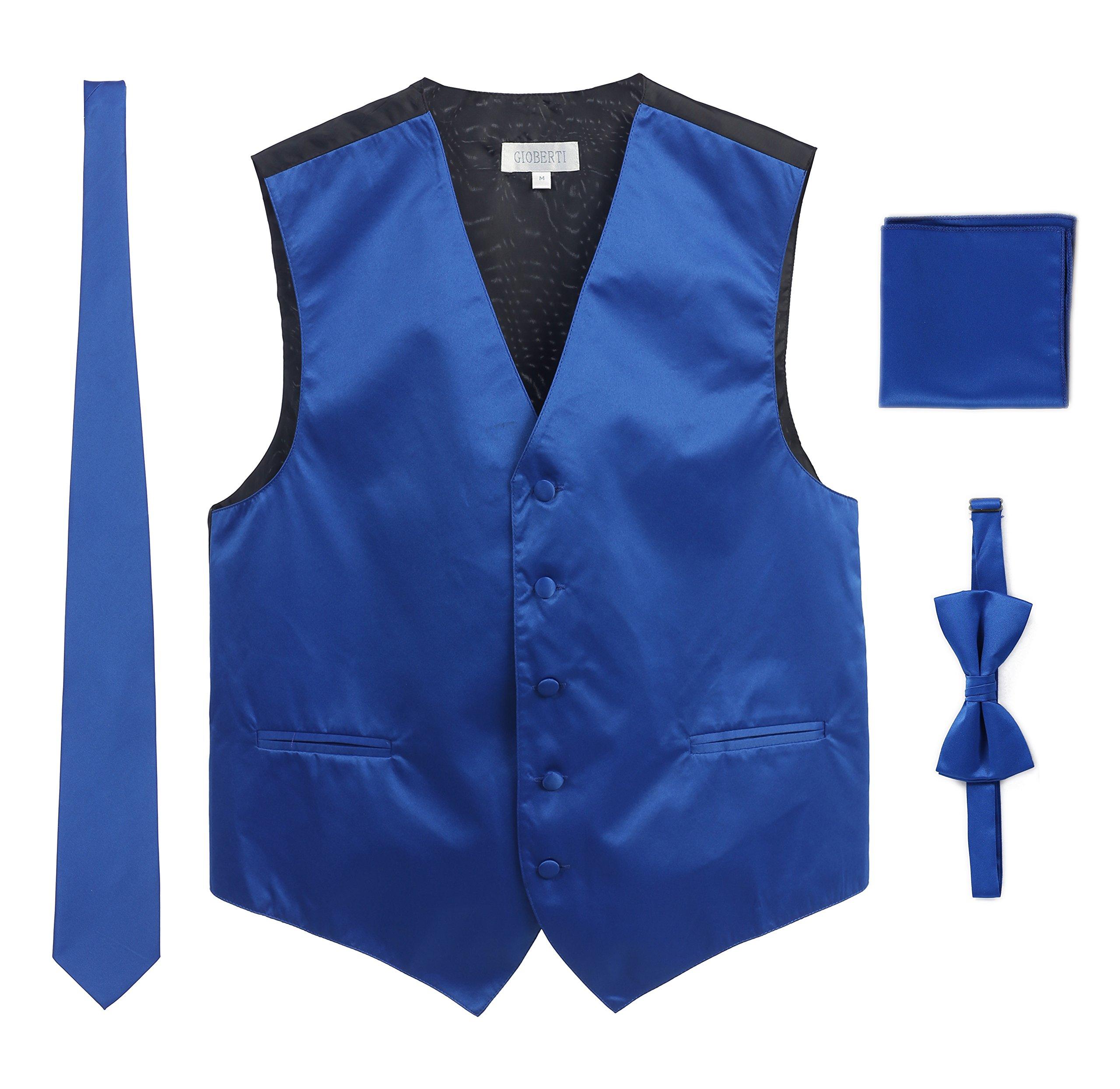 Men's Formal Vest Set, Bowtie, Tie, Pocket Square, Royal Blue, X Large