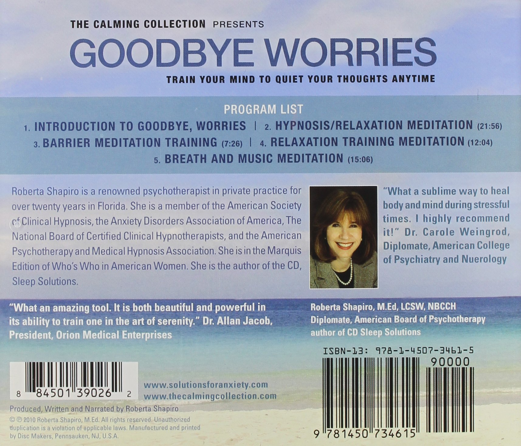 The Calming Collection - Goodbye Worries. ** Guided meditation to train your mind to quiet your thoughts - Train your mind to quiet your thoughts CD - Hypnotic Guided CD ** by CD Baby (distributor)