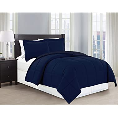 Mk Collection 3pc Full/Queen Down Alternative Comforter Set Solid Navy Blue New