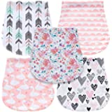 5-Pack Baby Burp Cloths for Girls, Triple Layer, 100% Organic Cotton, Soft and Absorbent Towels, Burping Rags for…