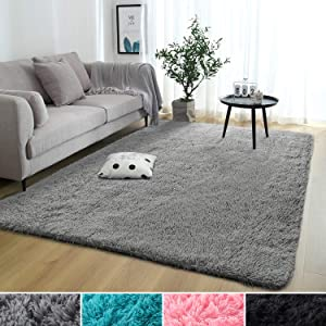 Rostyle Super Soft Fluffy Nursery Rug for Kids Teens Room Comfy Cute Floor Carpets Kids Playing Mat for Bedroom Living Room Home Decorate Area Rugs, 5 ft x 8 ft, Grey