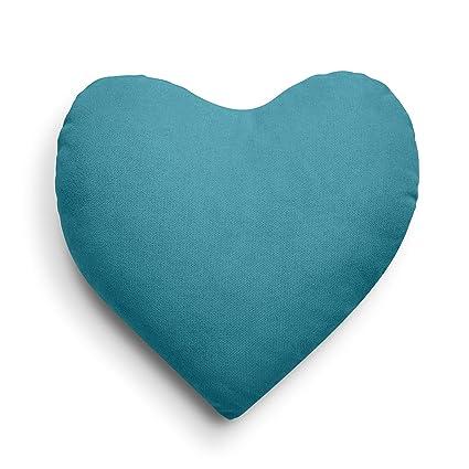 SuenosZzz- COJIN Relleno Corazon. Cojines Decoracion, Sofa,Cama, tapizado Acualine Antimanchas Azul Turquena. Medidas: 44x46 Decoracion CASA.