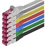 0,5m - 7 couleurs - 7 pièces - CAT6a Câble Ethernet Set - Câble Réseau RJ45 | 10 / 100 / 1000/ 10000 Mo/s | câble de Patch | LAN Câble | CAT 6a | S-FTP | double blindage | PIMF | 500 MHz | sans halogène | compatible avec CAT 5e / CAT 6 / CAT 7 | pour le switch, routeur, modem, Patchpannel, point d'accès, panneaux de brassage