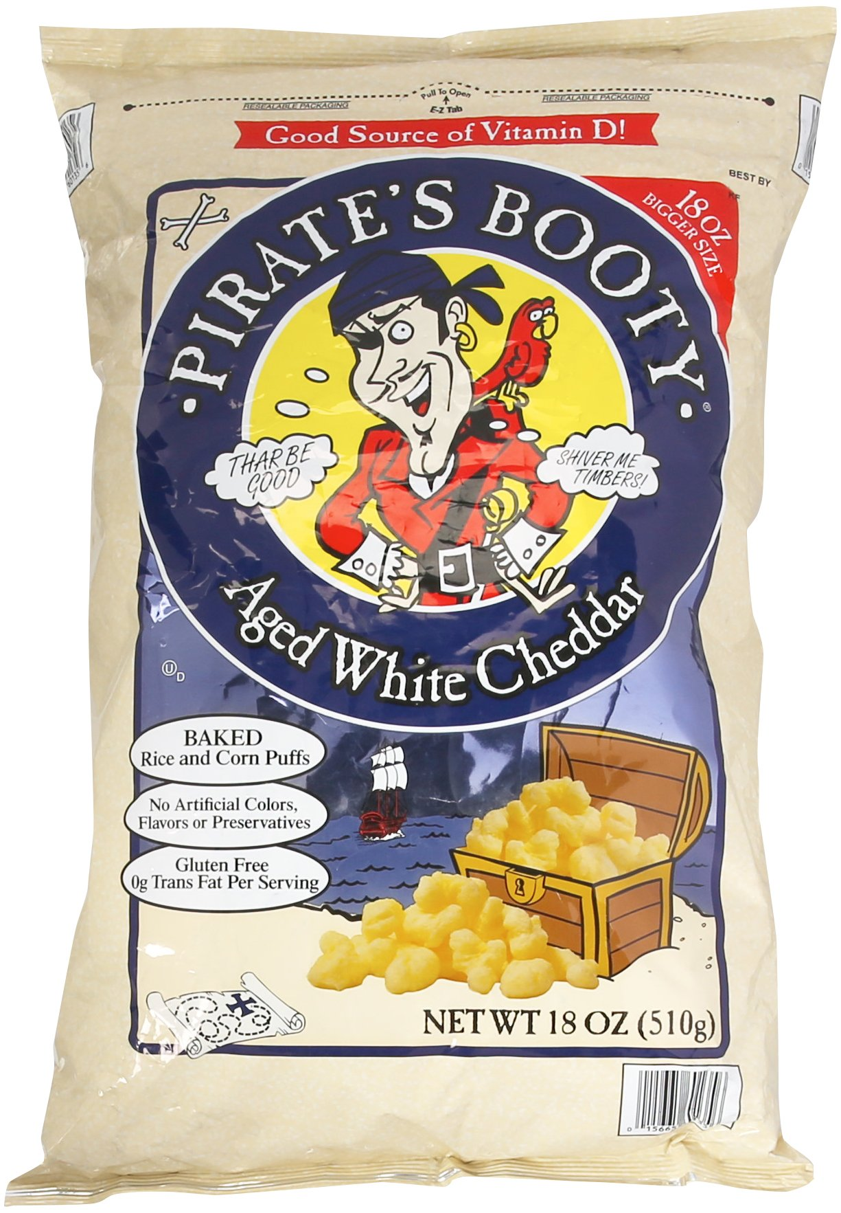 Pirate's Booty Baked Rice and Corn Puffs, 18 OZ