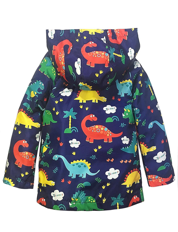 YNIQ Boys Lightweight Dinosaur Print Raincoats