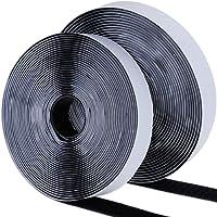 Faburo KM110 8m Doppelseitig Klettband Extra Stark Haftkraft Selbstklebend Flauschband Hakenband Langfristige Lebensdauere klebend, Schwarz
