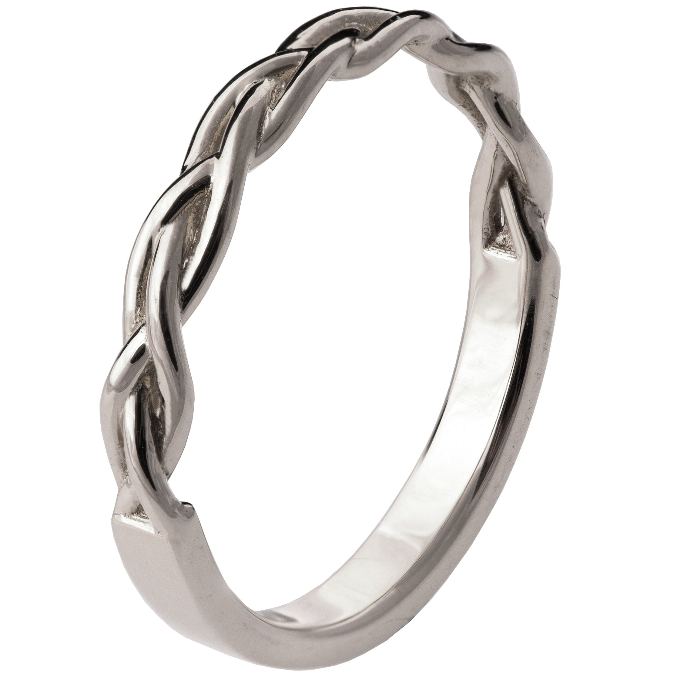 Solid 18K White Gold Braided wedding Delicate Ring For Women His and Hers Stackable Band Sets Stackable Band Celtic Woven
