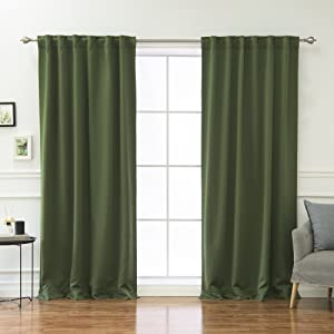 """Best Home Fashion Thermal Insulated Blackout Curtains - Back Tab/Rod Pocket - 52"""" W x 63"""" L - (Set of 2 Panels) (52"""" W x 84"""" L - Each Panel, Moss)"""
