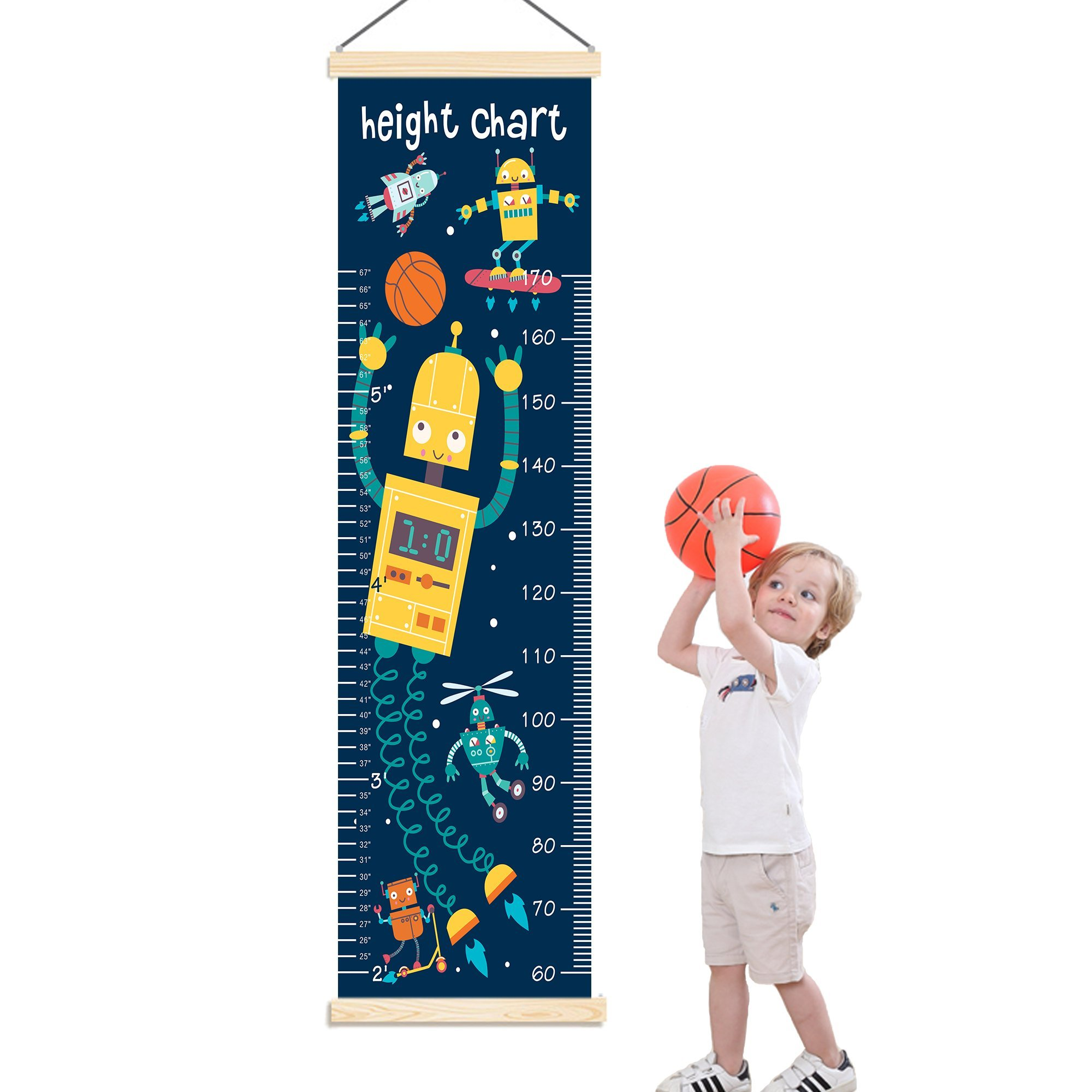 Panda_mall Baby Height Growth Chart Ruler Kids Roll-up Canvas Height Chart Removable Wall Hanging Measurement Chart Wall Decoration with Wood Frame for Boys Girls Kids Room(Robot)