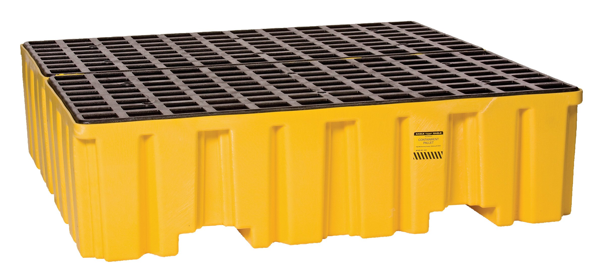 Eagle 1640ND Yellow 4 Drum Containment Pallet without Drain