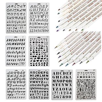 NouveLife 8 Schablonen, mit Zahlen und Buchstaben, wiederverwendbar ...