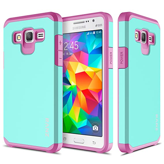 buy popular e7c2f 5b03c Samsung Galaxy Grand Prime Case, RANZ Hot Pink with Aqua Blue Hard Impact  Dual Layer Shockproof Bumper Case for Samsung Galaxy Grand Prime G5308 / ...