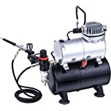 ABEST Complete Professional Airbrush Compressor Kit with Air Tank for Nails Tattoo Nail Art With Dual Action AirBrush Spray Gun for craftwork, cosmetics, tanning, hobbies, models, airbrushing, painting, cake decorating, customised clothing