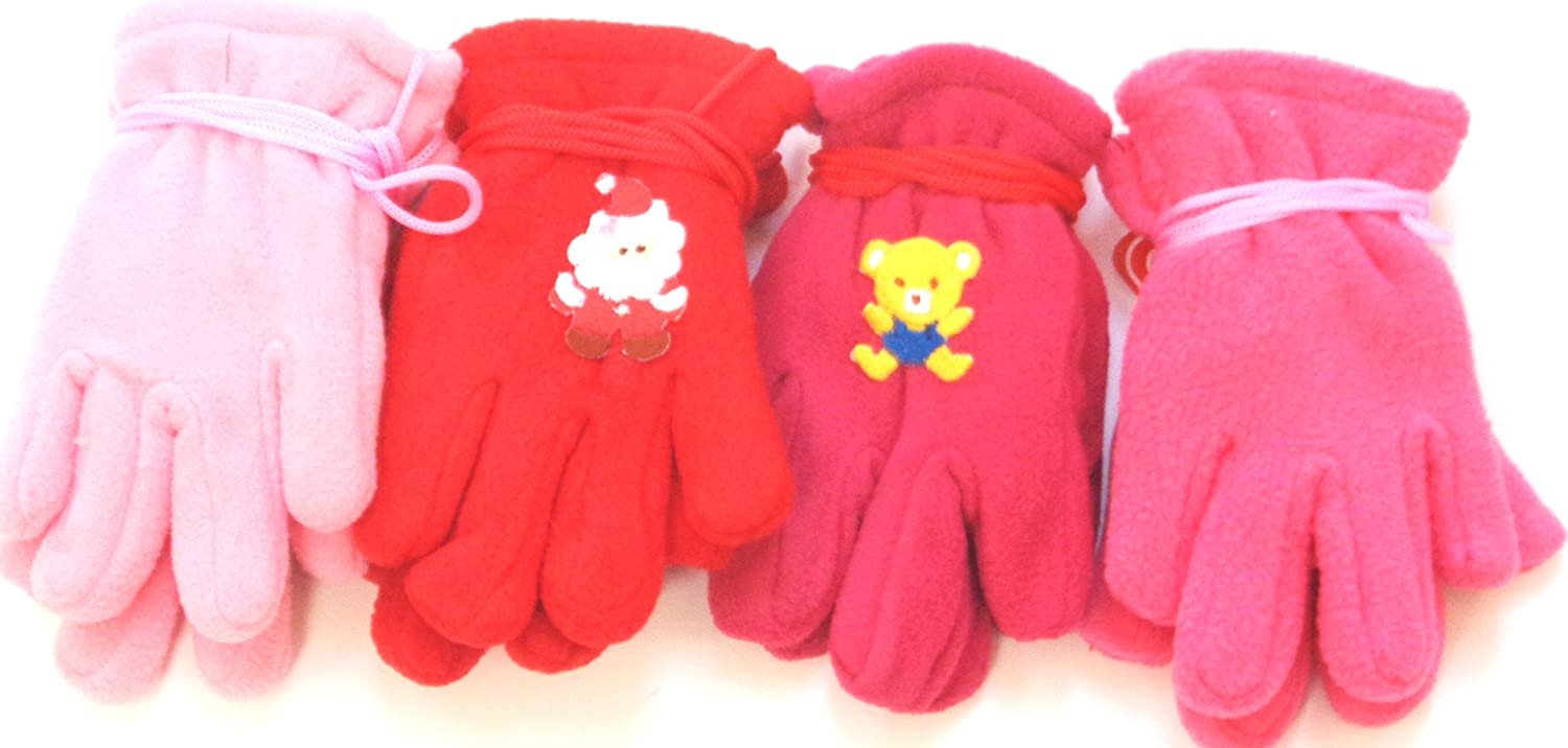 Set of Four Pairs Very Warm Fleece Gloves for Infants for 6-24 Months