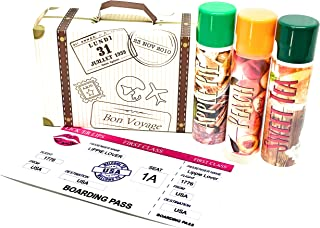 product image for Lickerlips World Flavors Lip Balm (USA) Pack | Green Apple Sweet Tea Peach Flavors | Beeswax Mango Cocoa Butter Jojoba Hempseed Oils Vitamin E | 3 tubes (4 grams each) in retro Suitcase