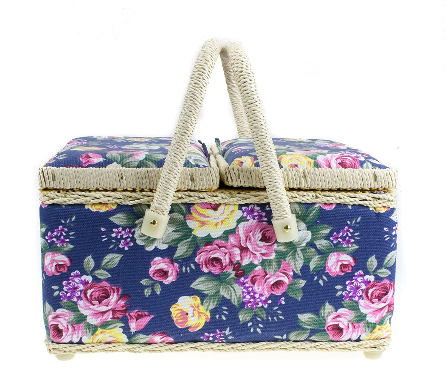 Floral Twin Lidded Sewing Basket with Twin Handles in 2 Colours (Blue Floral) Lesser and Pavey