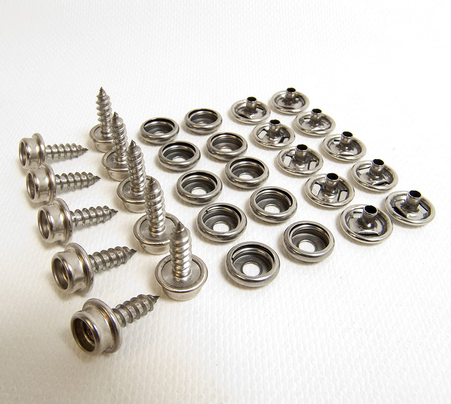 "Stainless Steel w// 5//8/"" #10 Oversize Screw Stud 32 Pc Set Snap Cap /& Socket"