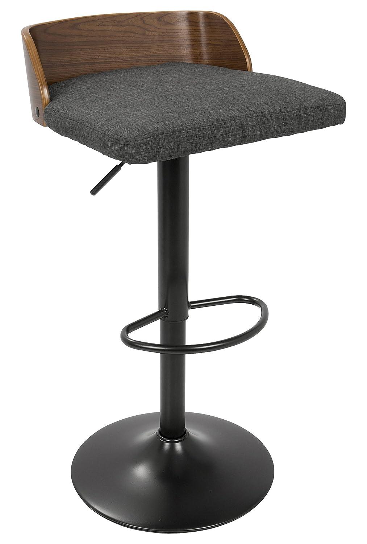 LumiSource BS-Maya WL+Char Maya Mid-Century Modern Adjustable Barstool, Walnut Wood/Charcoal Fabric