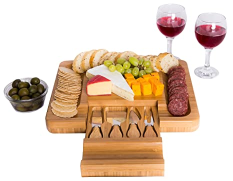 Amazon.com: Juego de tabla para quesos con cuchillos de ...