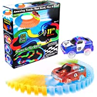 220 Pieces Flexible Track Glow in The Dark Track with 2 Light Up LED Race Cars for Kids by Mibote