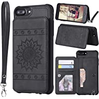 ZXK CO Premium PU Leather Shockproof TPU Kickstand Card Slots Wallet Case with Wrist Strap Magnetic Button Sunflower Embossed Mandala Pattern Protective Cover for iPhone 7 Plus/8 Plus (Black)