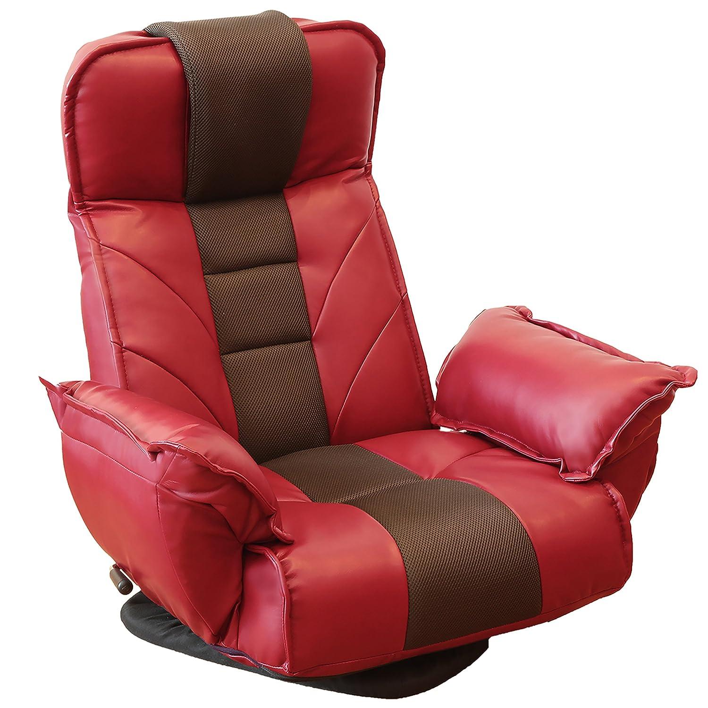 ロングセラー座椅子 明光ホームテック 回転座椅子 TVが見やすい レバー式 14段階リクライニング レッド FRL-ダラスRE B07F8VYRGC