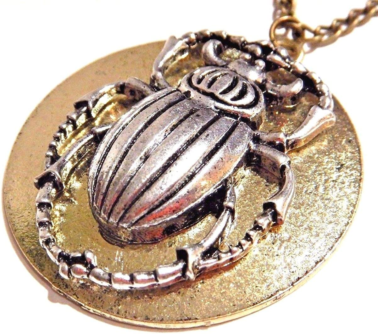 Scarab Beetle /& Golden Sun Disc Egyptian Revival Steampunk Pendant on Long Chain Necklace