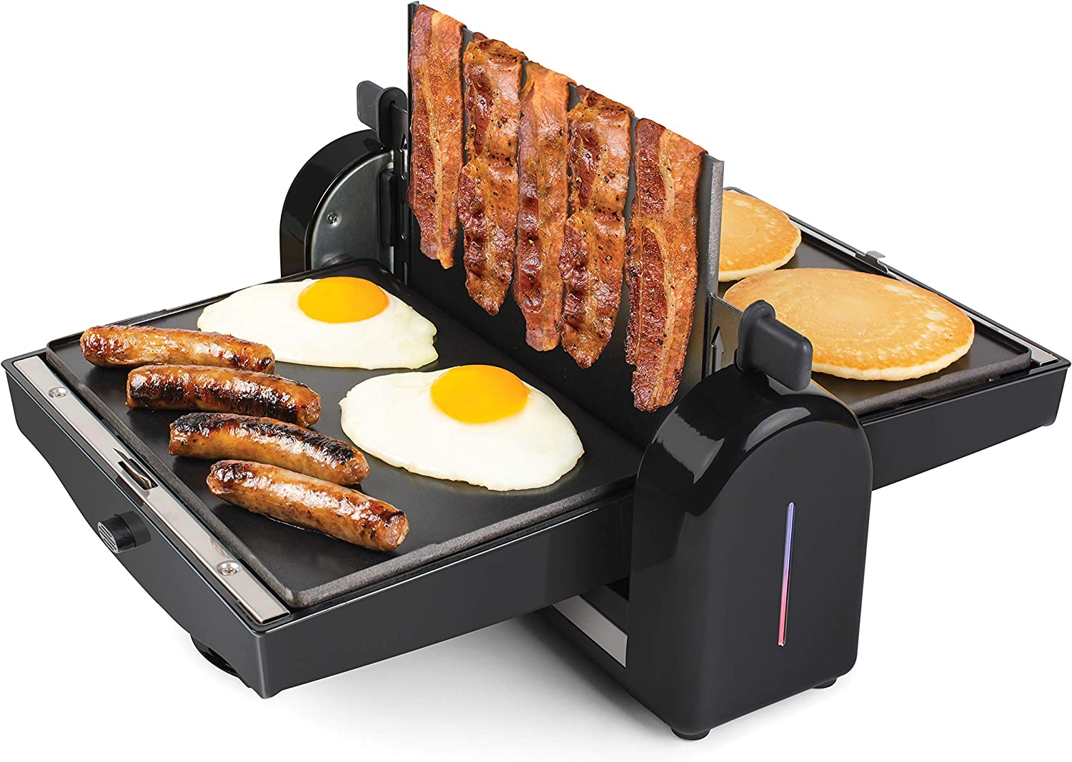 HomeCraft FBG2 Nonstick Electric Bacon Press & Griddle, Cooks 6 Pieces, Perfect For Eggs, Sausage, Pancakes, Hashbrowns, 6-Slice, Black
