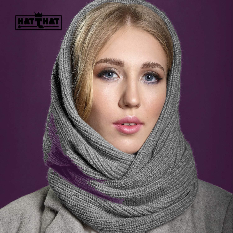 100% Cashmere Scarf.Knitted. HatThat. Dark Gray. Multi-Ways. by HatThat