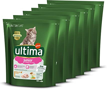ultima Pienso para Gatos Junior de 2 a 12 Meses con Pollo, Pack de 6 x 400 gr - Total 2.4 kg: Amazon.es: Productos para mascotas