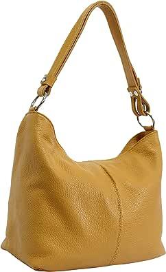 AMBRA Moda Hobo bag GL005 - Bolso de mujer de cuero, bolso de mano y bandolera