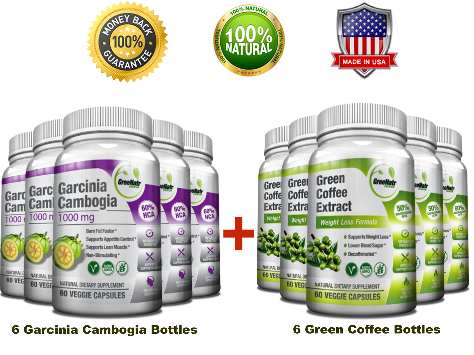 All-in-One Weight Diet Loss Pills & Appetite Suppressant Bundle w/Pure Green Coffee Bean Extract + Garcinia Cambogia Extract | Blocks Fat, Sugar, Carbs - 720 Veggie Capsules - Gluten Free & Non GMO