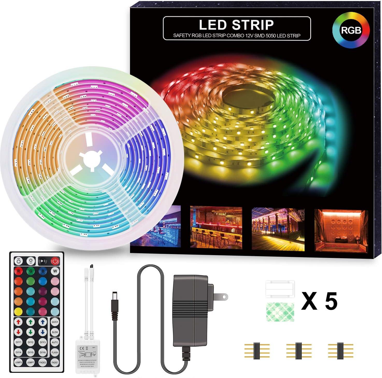 LED Strip Lights,16.5ft RGB LED Light Strip 5050 LED Tape Lights, Light Strip with 44key Remote for Home Lighting, Kitchen, Bedroom-Flexible Strip Lights for Bar, Party and Christmas Indoor Decoration